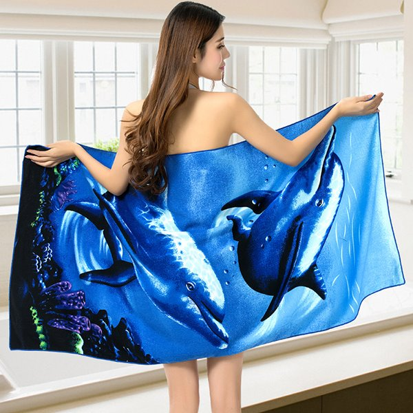 Vivid Two Happy Dolphins Printing Bath Towel & Beach Towel