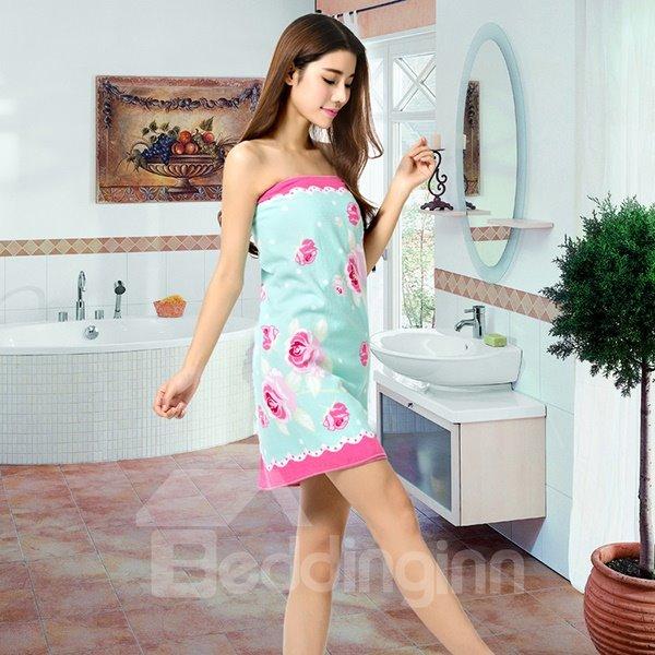 Modern Pink Roses Printing Bath Towel