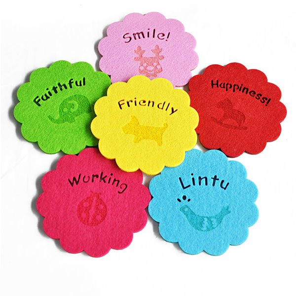 1-Set 6-Piece Multi-Color Felt Tea Cup Mat