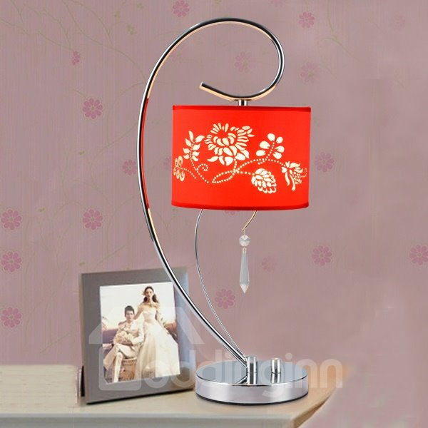 Modern Simple Floral Pattern Bedroom Table Lamp