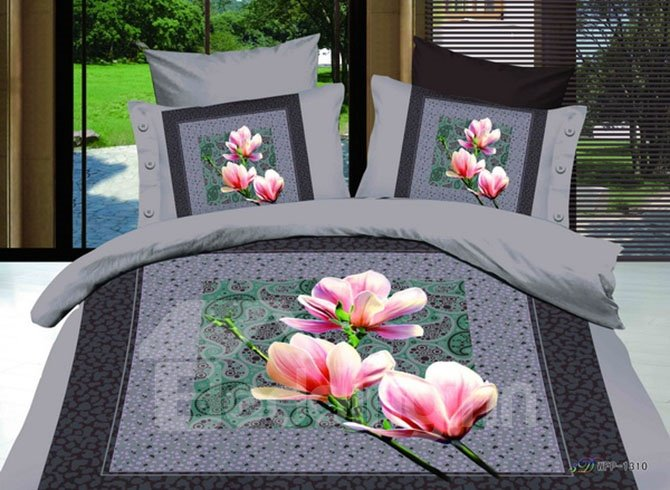 Elegant Pink Lily European Style 2-Piece Pillow Cases
