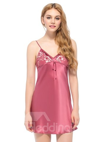 Slim Flower Trim Bust Double Spaghetti Straps Chemise