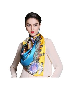 Bright Color Damask Mulberry Silk Square Scarf