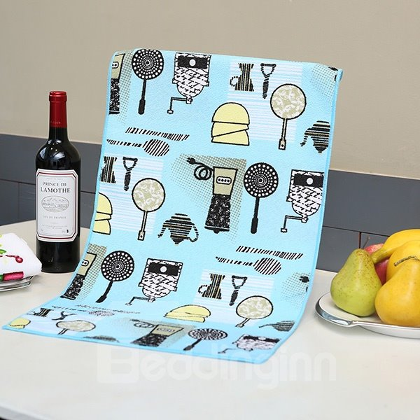 Modern Fashion Tableware Pattern Blue Ultrafine Fiber Tower