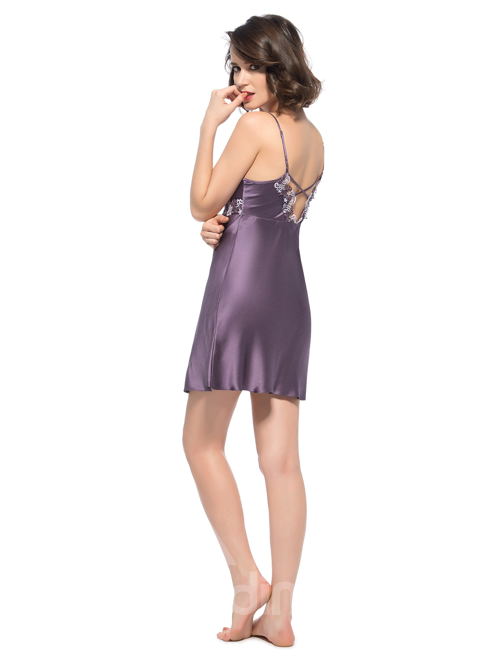 Dark Purple Deep V Split Mulberry Silk Chemise