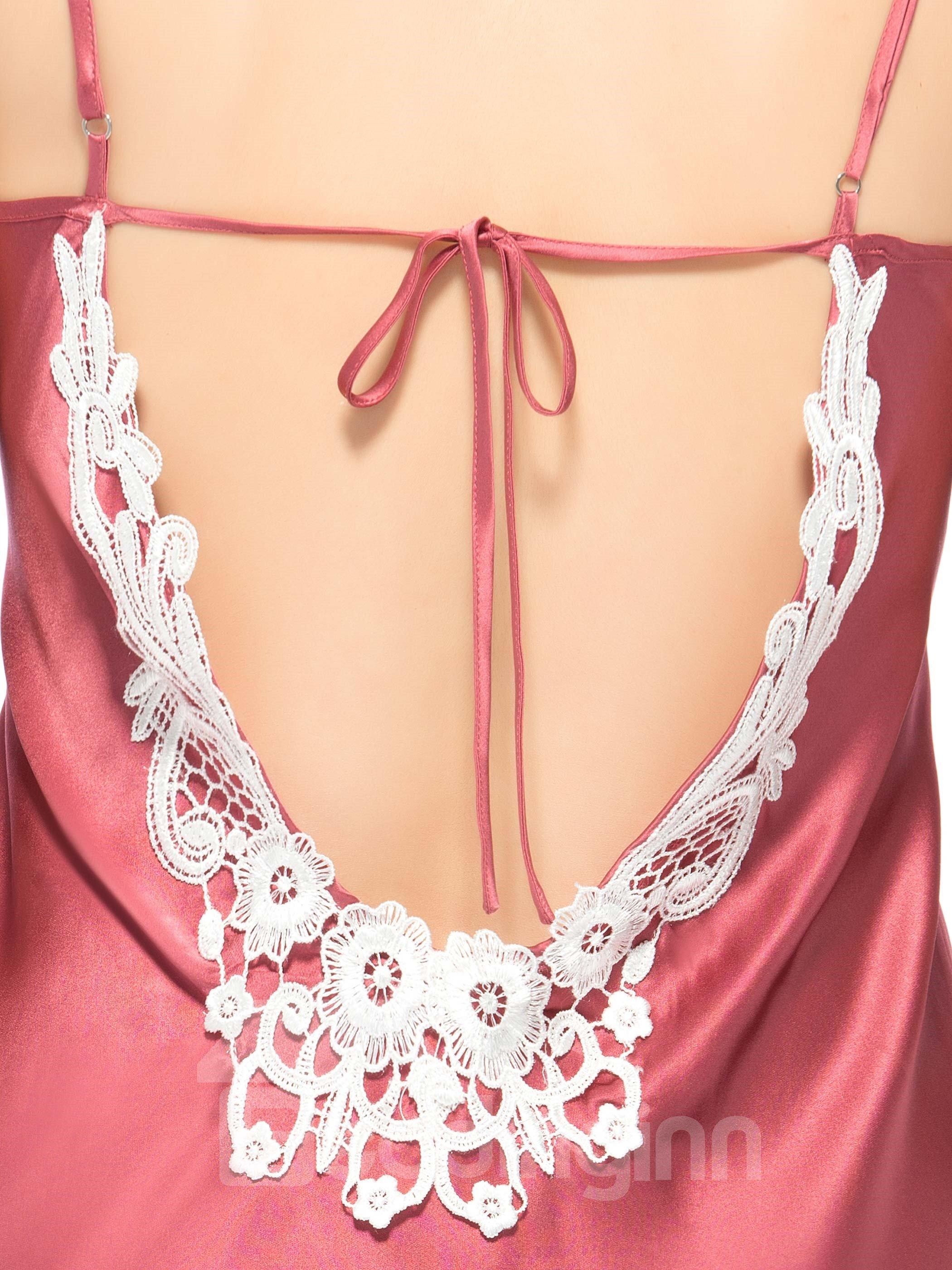 Elegant Flower Embroidered Bust Silk Robe and Chemise Set
