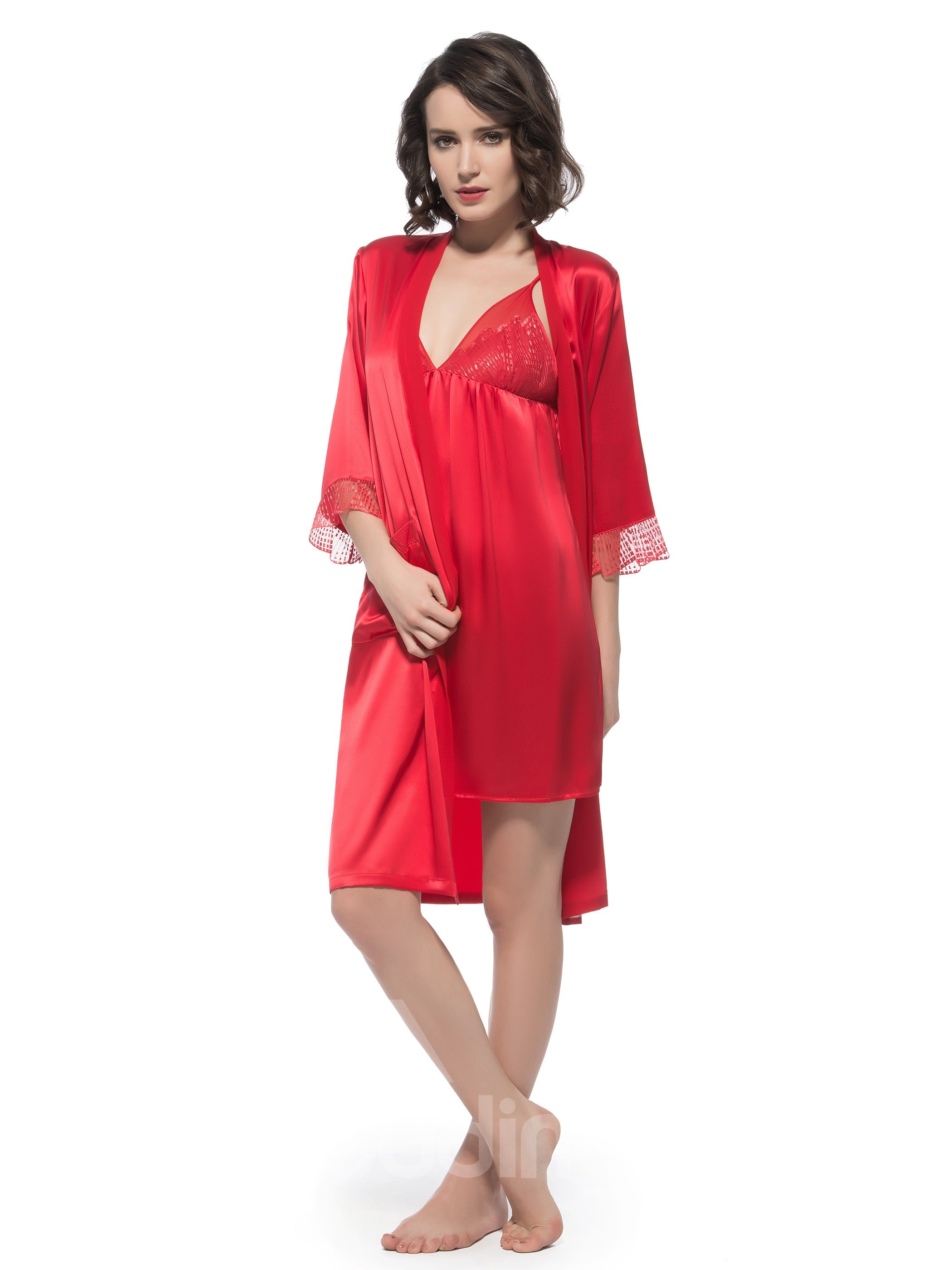 Half Sleeves Mulberry Silk Swing Robe and Chemise Set