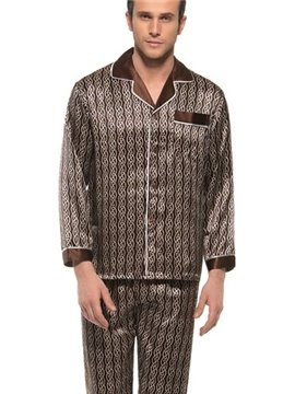 Soft and Comfy Men's Long Sleeve Silk Lapel Pajamas Set