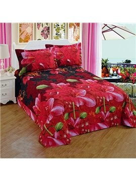 Red Azalea Print Super Comfy 3-Piece Polyester Bed in a Bag
