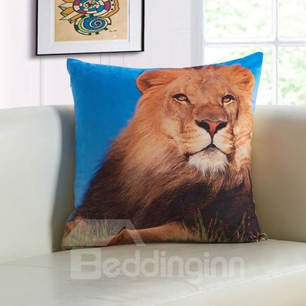 Powerful 3D Lion Print Plush Throw Pillow