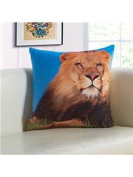 Powerful 3D Lion Print Plush Throw Pillow