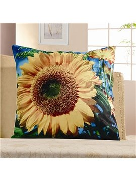 Pastoral 3D Sunflowers Print Plush Throw Pillow