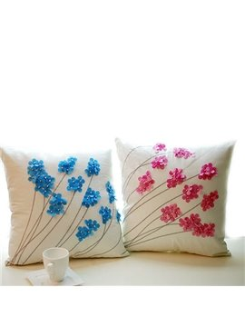 Graceful Flowers Design Canvas Throw Pillow Case