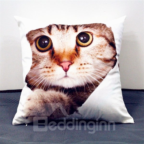 Vivid Lovely 3D Cat Print Plush Throw Pillow