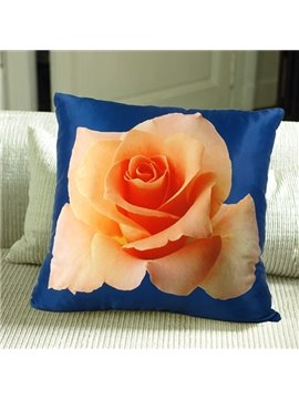 Orange 3D Rose Print Plush Throw Pillow Case