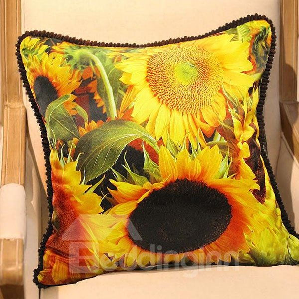 Bright Sunflowers Print Plush Throw Pillow Case