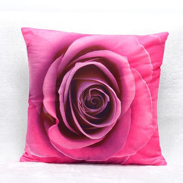 3d Blooming Rose Printing Throw Pillow Case