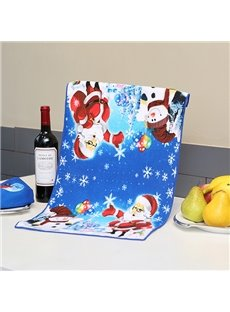 Attractive Brisk Santa and Snowman Dark Blue Ultrafine Fiber Tower