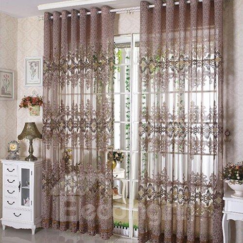 Hot Selling Elegant Floral Pattern Custom Sheer Curtain