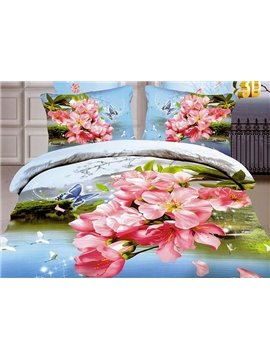 Butterfly Flying around Pink Flowers Print 4-Piece Cotton Duvet Cover Sets