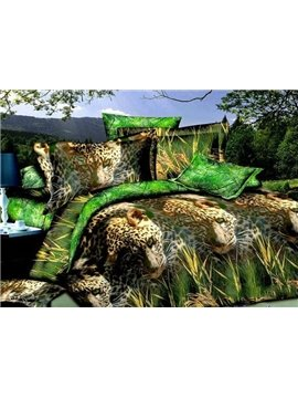 Lifelike Leopard in Grass Design 4-Piece Duvet Cover Sets