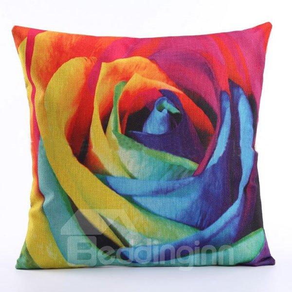 Fantastic 3D Colorful Rose Print Linen Throw Pillow Case