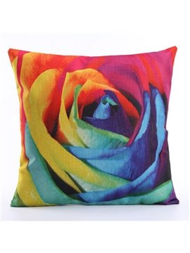 Fantastic 3D Colorful Rose Print Linen Throw Pillow Case