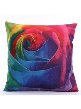 Fancy 3D Colorful Flower Print Linen Throw Pillow Case