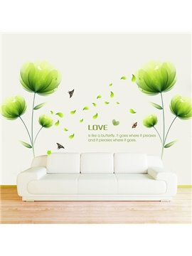 Stunning Green Flower Bedroom TV Wall Decoration Removable Wall Sticker