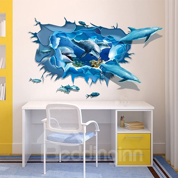 Creative Dolphins Swimming off the Wall Nursery Removable 3D Wall Sticker