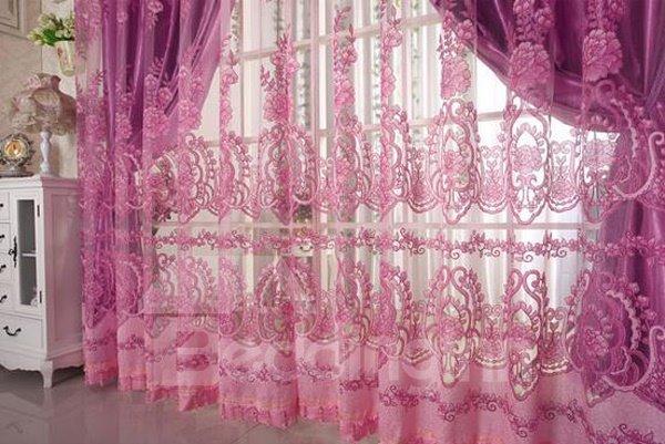 Elegant Pink Floral Pattern Custom Sheer Curtain
