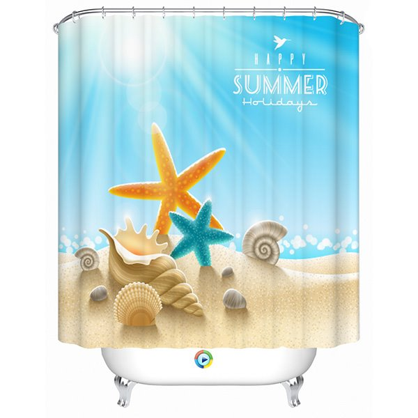 Glamorous Shining Scenery Starfish and Shell 3D Shower Curtain
