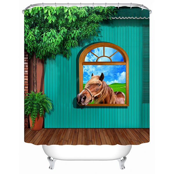 Modern Rural Style House an Horse 3D Shower Curtain