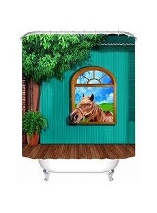 Modern Rural Style House an Horse 3D Shower Curtain