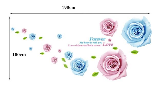 Stunning Pink and Blue Roses and Letters Removable Wall Sticker
