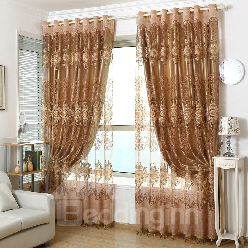 Super Elegant Coffee Color Custom Sheer Curtain