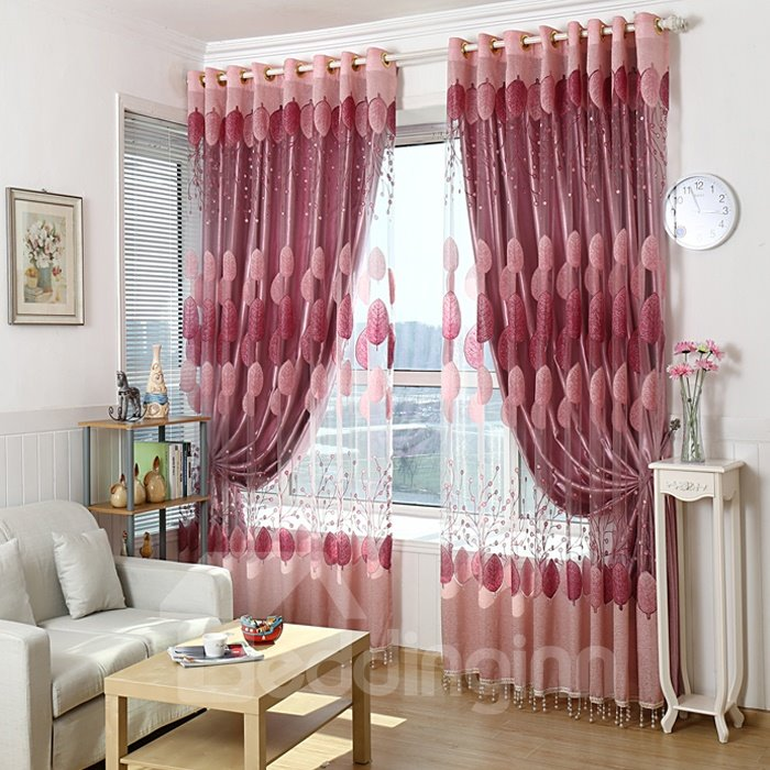 Romantic Pink Burnout Circle Custom Sheer Curtain