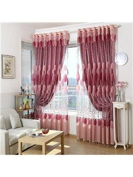 Romantic Pink Burnout Circle Custom Sheer Curtain