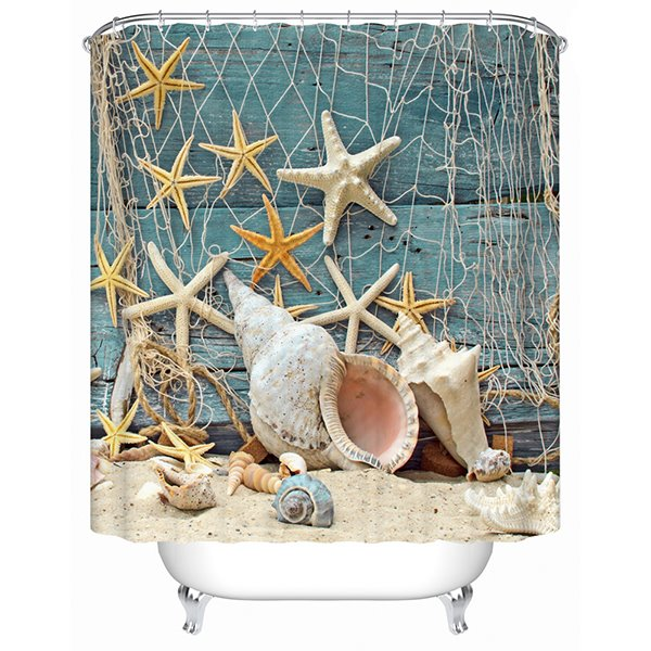 Fashion Fresh Shell and Starfish 3D Shower Curtain