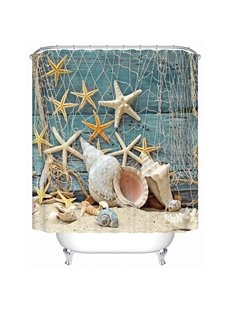 Fashion Fresh Shell and Starfish 3D Shower Curtain