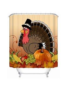 Cartoon Turkey Printing Happy Thanksgiving Day 3D Shower Curtain