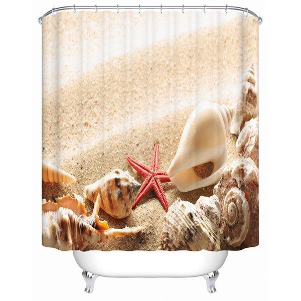Modern Fashion Sandbeach Shell 3D Shower Curtain