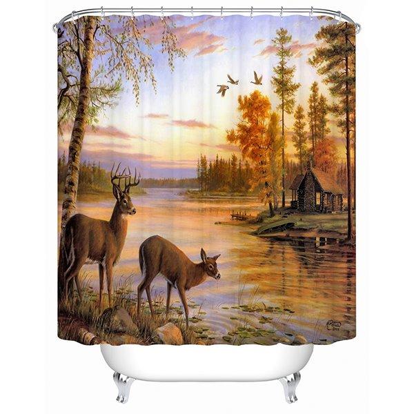 Peaceful Warm Natual Landscape Lovely Deer 3D Shower Curtain