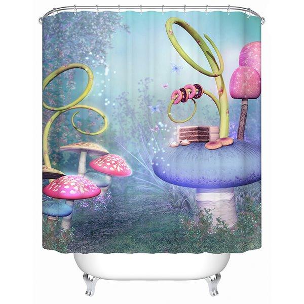 Fancy Fairytale Colorful Mushroom World 3D Shower Curtain