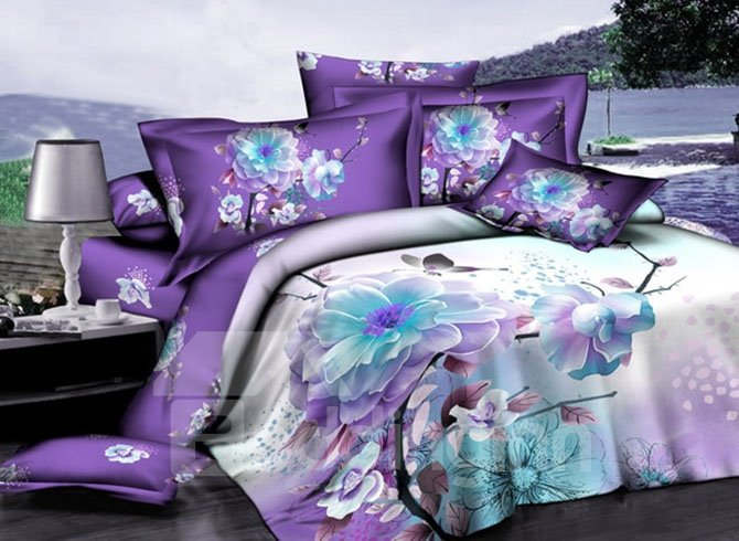Purple Background With White Flowers Print Fitted Sheet