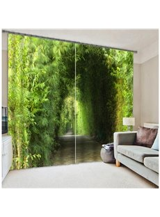 3D Green Corridor with Tree Printing Two Panels Curtain