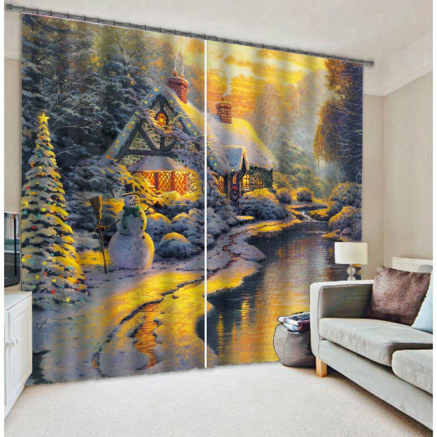 Beautiful Snowy Scenery Printing Two Panels 3D Curtain