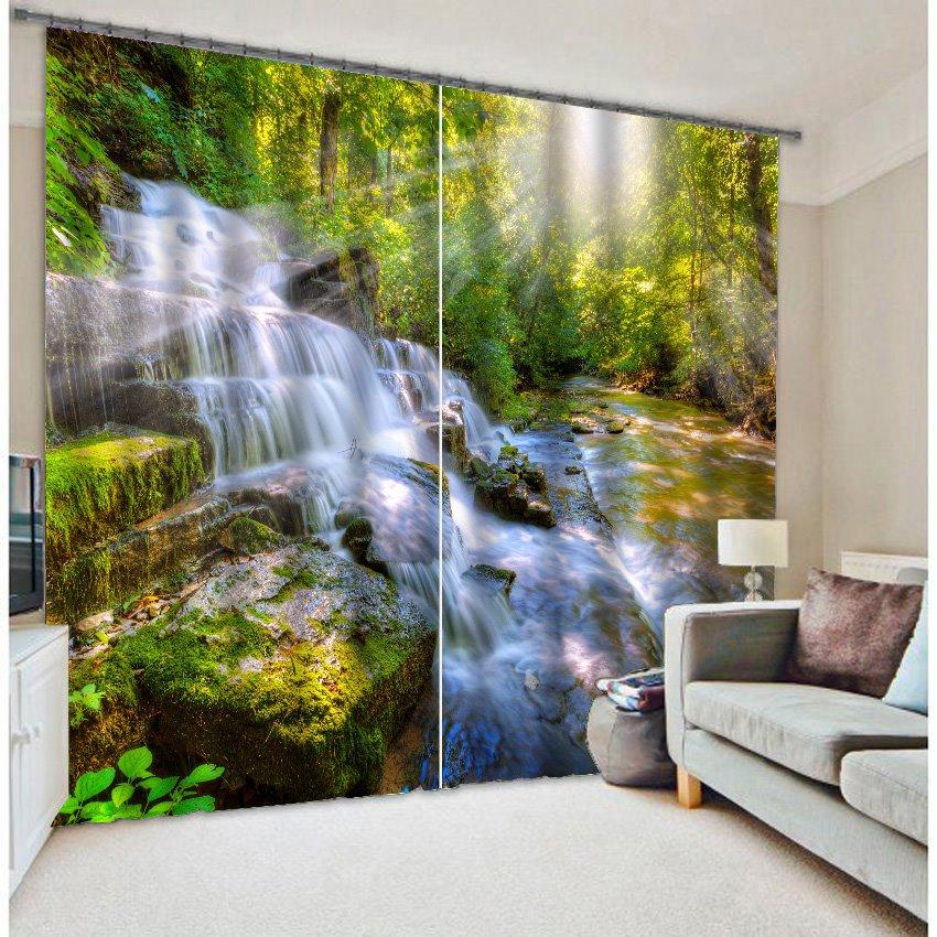 3D Wonderful Waterfall Print 2-Panels Decor Curtain