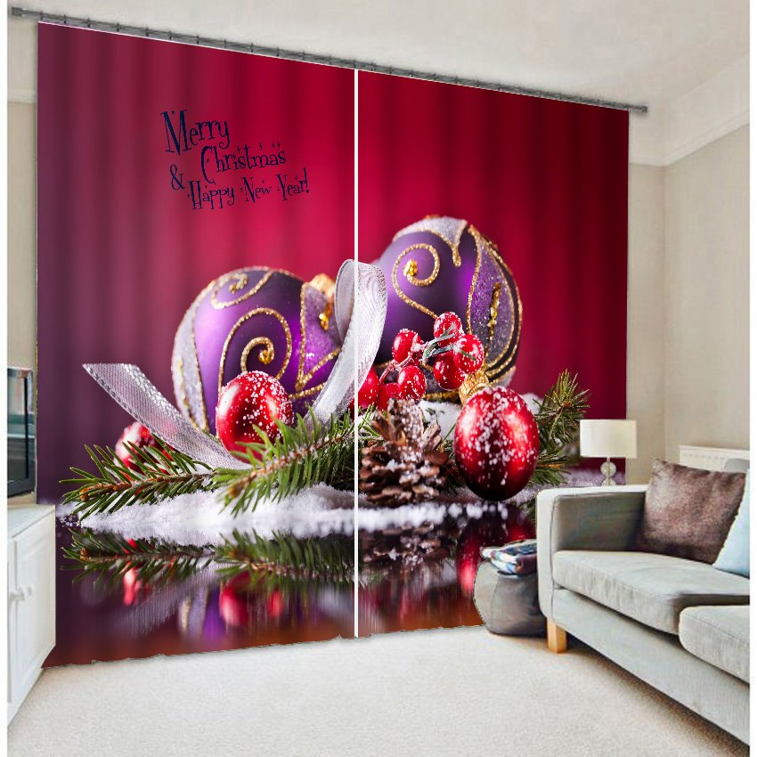 Vibrant Red Color 3D Merry Christmas Blackout Curtain 11539546