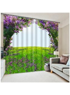 Romantic Purple Flower Green Field 3D Blackout Curtain